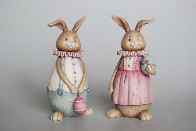 Male rabbit eggs/female rabbit holding 2 drawings furnishing articles