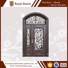 Double swing metal door with flat top