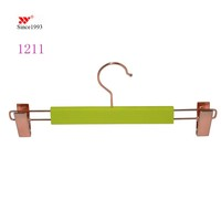green rubber coating bottom hangers with rose gold clips