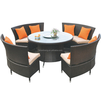 Hot Sale Outdoor Synthetic Resin Round 4,5,6,8,10,12 Seat Table Chairs Sofa Set Poly Rattan Garden Furniture