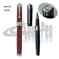 Liquid ink Roller Ball Pens with Crystal Header Metal Heavy Rollerball Pen