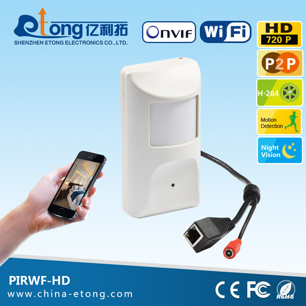 Onvif P2P motion activated PIR hidden type small night vision camera with wireless <strong>wifi</strong>