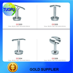 China wholesale stainless steel outdoor metal handrail for steps pipe stair handrail balcony glass railing fitting