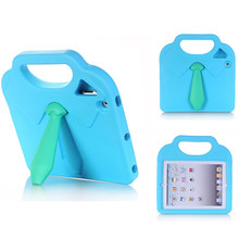 Colorful Tie Shape Stand Silicon Tablet Case for ipad 2 3 4 Kids Shockproof Handle Tablets Stand Cover