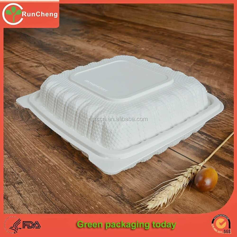 8 inch Biodegradable disposable Micowaveable takeout container Environmental lunch box -1compartment
