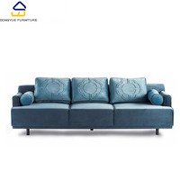 modern nordic style fabric living room three seat blue sofa