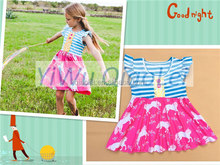 2016 new spring summer Remake Children Clothing Baby Girl Ruffle Short Sleeve Remake Blue Stripe and Horse Skirt