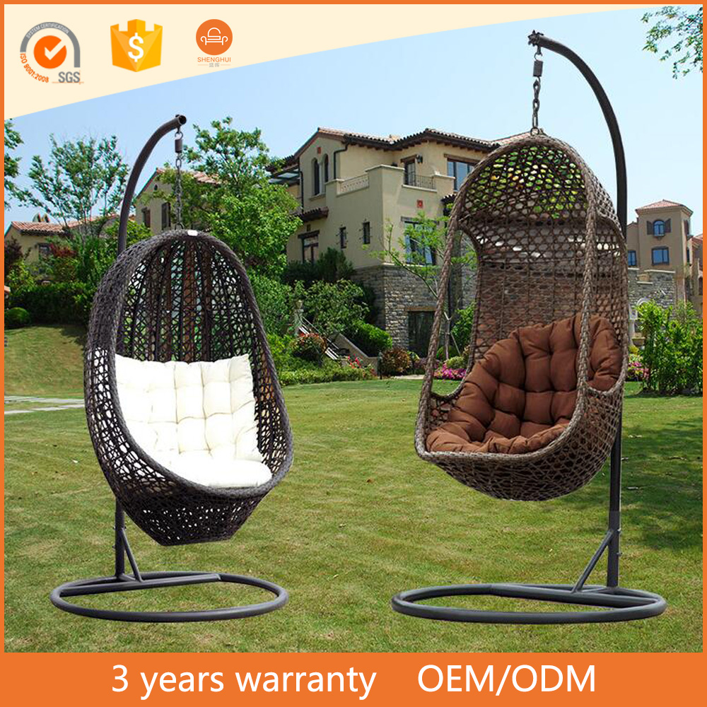 furniture 2017 Outdoor Hanging Egg Chair Garden Rattan Furniture Green Cushions
