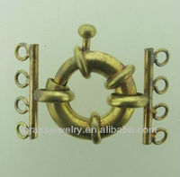 High Quality Brass Jewelry Findings Multi Strand Spring Ring Clasp Wholesale