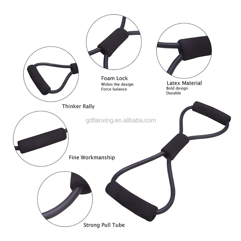 Eco-Friendly 8 Shape Latex Resistance Tube Band Chest Expander for Body Building
