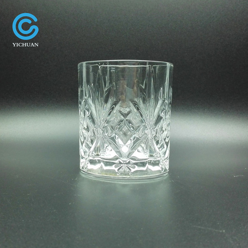 Machine Pressed Engraved Diamond Glass Whiskey Cup