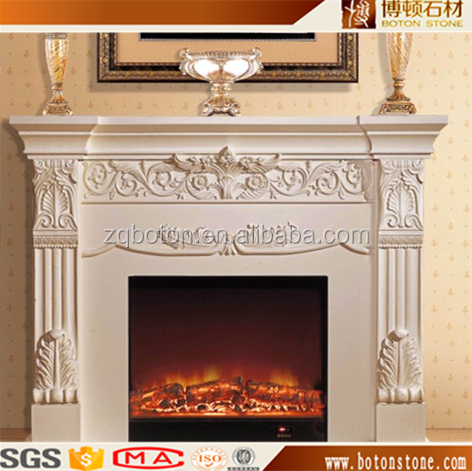 China cheap marble double fireplace mantel with flower craving