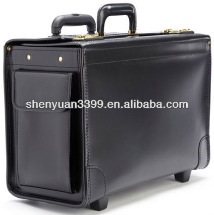 Litigator Wheeled American grain leather briefcases top quality pilot cases best travel bags