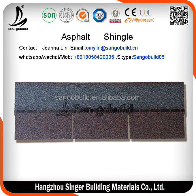 Color changing effect Cheap 3 tab shingle roof sale, Asphalt Shingle sell