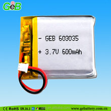 3.7V 600mAh GEB 603035 Li-ion Polymer battery