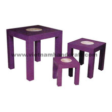 Eco-friendly hand lacquer finished vietnamese purple lacquered furniture products with natural coiled bamboo on top