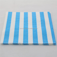 New Design Blue Striped Party Folding Paper Napkins