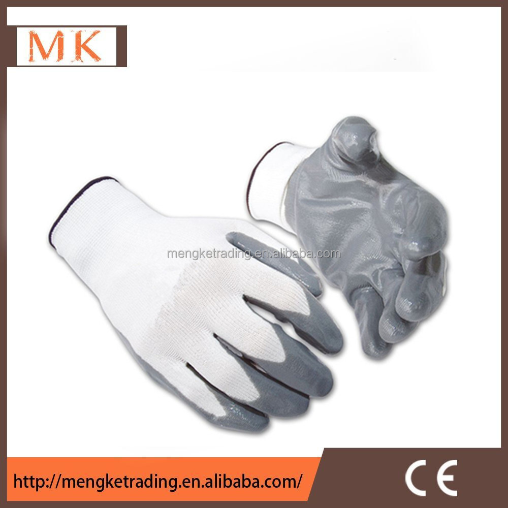 Grey 13G nylon Nitrile coated working glove for ladies
