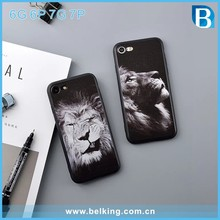 mobile phone hot accessories ,cool boy design hot animal lion hard pc case soft edge tpu case for iphone 6 6plus 7 7plus