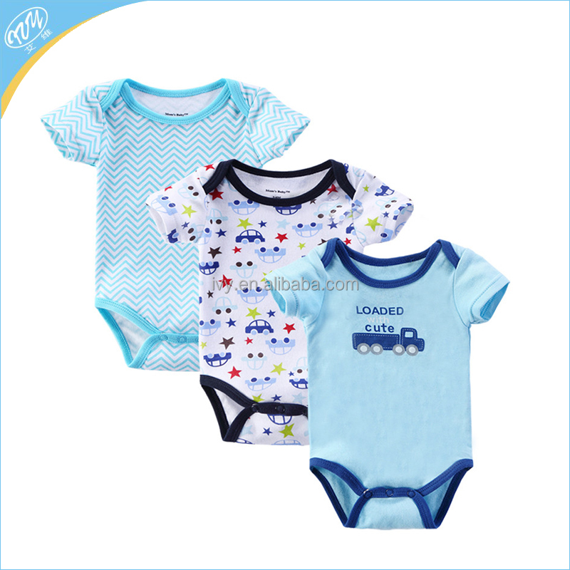 Soft Cotton Knitted Kids Clothing Infant Jumpsuit Color Baby Romper With Short Sleeve Wholesale