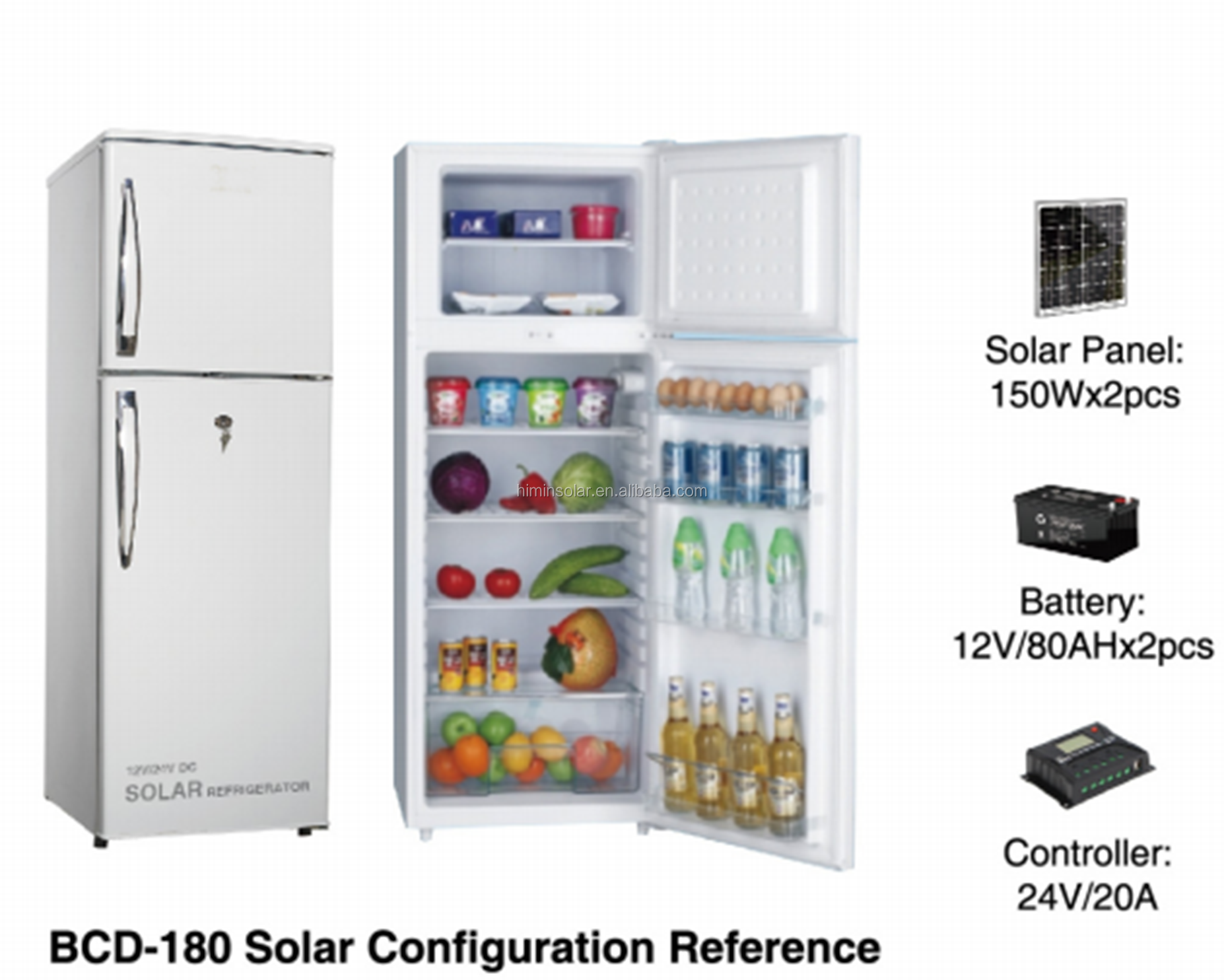 2018 new180L DC solar refrigerator solar power cheap price 12V/24V home <strong>appliance</strong> 12V/24V DC solar refrigerator