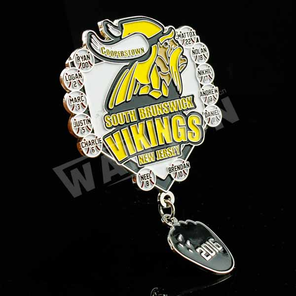 Wal-mart approved custom metal baseball badge dangler trading pin