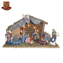 Factory custom made diy cheap 11 resin figures lighted novely nativity set