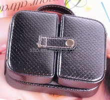 High quality fashion black leather handle bag ,storage bag for cosmetic make-up