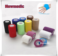 Breathable printed tennis vollyball golf pe athlete OEM sports Cohesive adhesive bandages coloured