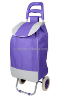 solid purple polyester fabric folding shopping trolley bag
