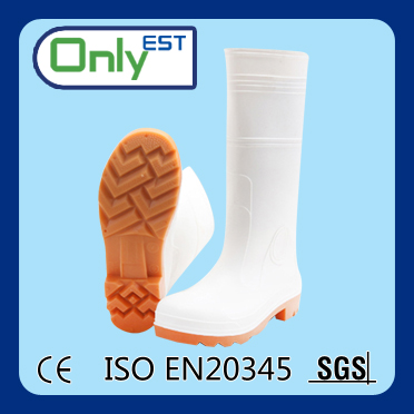 PVC material nitrile rubber white safety waterproof rain boots US/UK 4-13