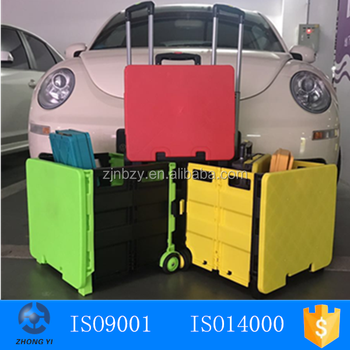 Rolling Utility Cart Folding and Collapsible Hand Crate on Wheels