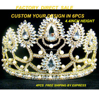 Wholesale tall pageant spark girl's rhinestone custom gold tiara crown gold tiara decoration