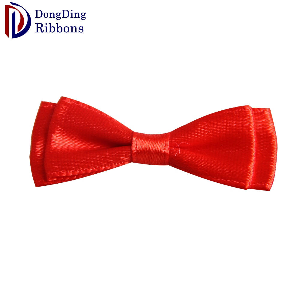 High quality wholesale red satin ribbon double butterfly mini cheap bows for underwear decoration