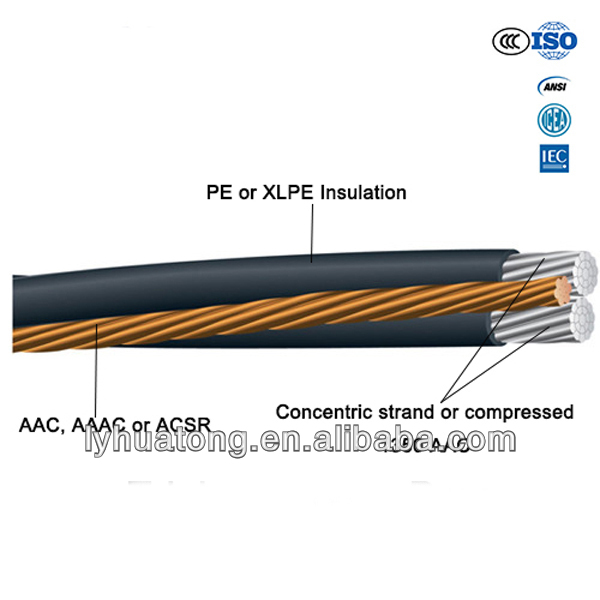 XLPE Insulation Low Voltage 0.6/1 KV electric cable Aerial Bundled Cable underground ABC Cable