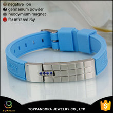 China manufacturer fashion negative ion infrared germanium cheap custom magnetic silicone bracelet
