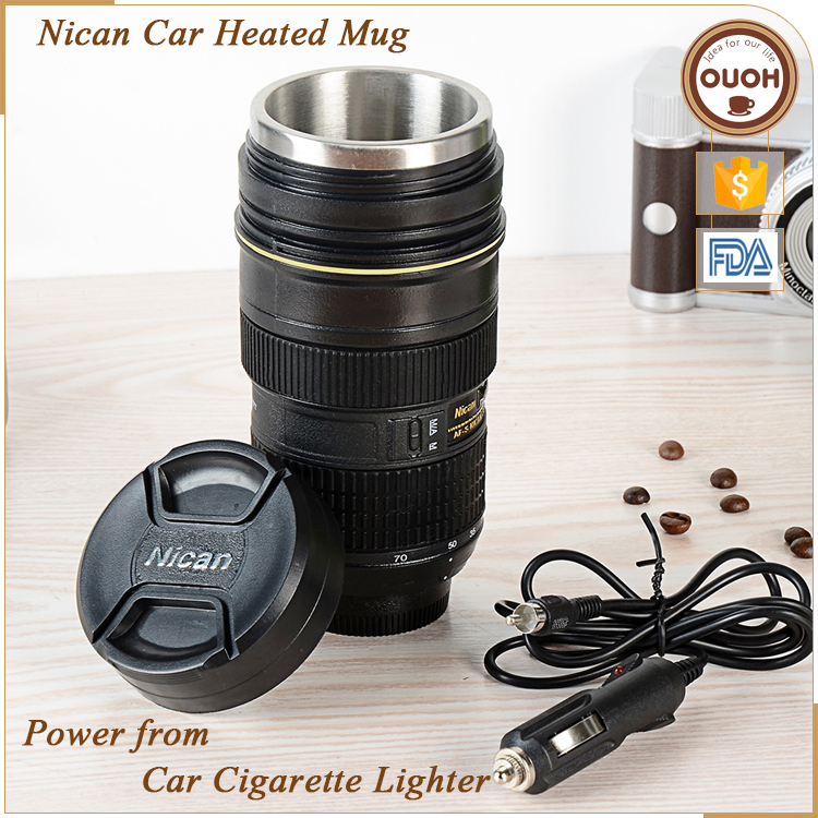 Christmas Promotional Gift 2016 Creative Nican Camera Lens Shaped Double Wall 12v Car Travel Mug