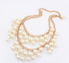 Fashion Statement Imitation Pearl two Layers Chunky Collar Party Jewelry Pendant Chain Necklace Choker 2016