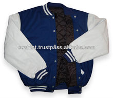 34- blue And White Varsity Jacket , Get Your Own Designed Varsity Jackets From Sialkot Pakistan