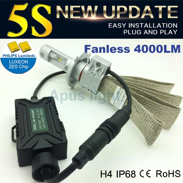 high performance white colour DC24v fanless led headlight bulbs h4