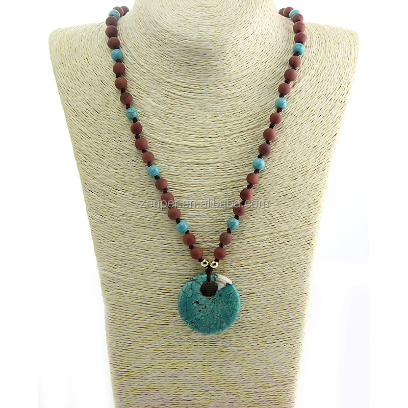 Knotted stone beads necklace,big hole turquoise pendant necklace
