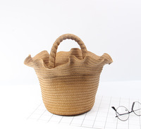 2018 New Bohemian lace straw bag DrawString Beach Basket