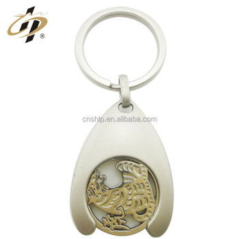 Bulk item zinc alloy metal custom silver key chain with hook