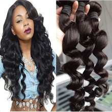 8-30inch Beauty Peruvian Remy Hair Extension Hair Weft Natural Collor Loose Wave style