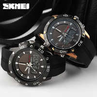 Sports solar power Silicone child watch supplier coffee color dual time Chrono watch