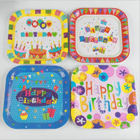 Cheap Wholesale Colorful balloons Cake Gifts happy birthday dinner paper plate for kids