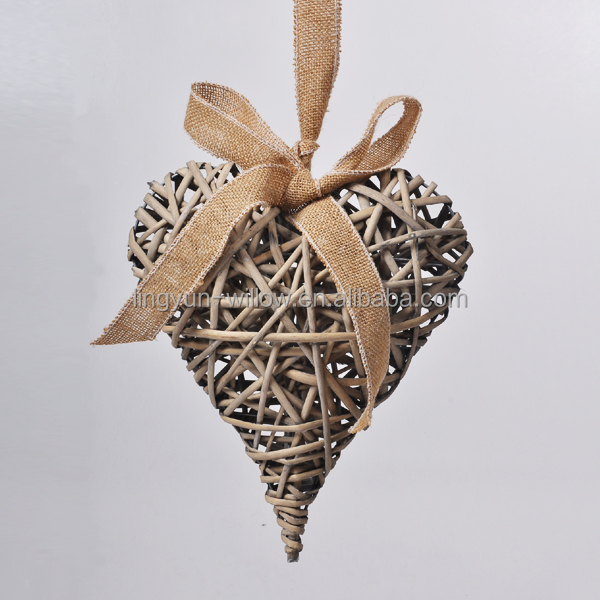 2016 heart design christmas decorations woven wicker heart