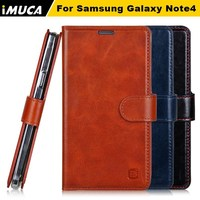 IMUCA Luxury handmade 100% real Cowhide Genuine Leather wallet phone case for Samsung Galaxy Note 4/N910
