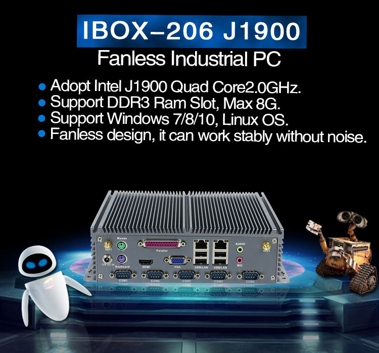 X86 single board computer IBOX-206 J1900 fanless mini pc with serial parallel port