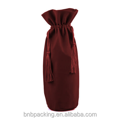 Small Large Velvet Cloth Drawstring Bags Wholesale Customized Logo Wine Bottle Pouches with Tassels